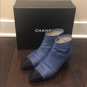 Chanel denim lamb skin and black ankle boot